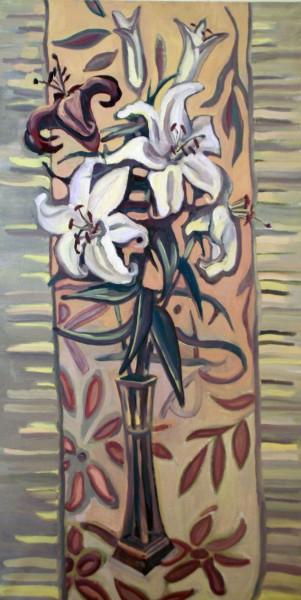 Декоративный натюрморт с лилиями